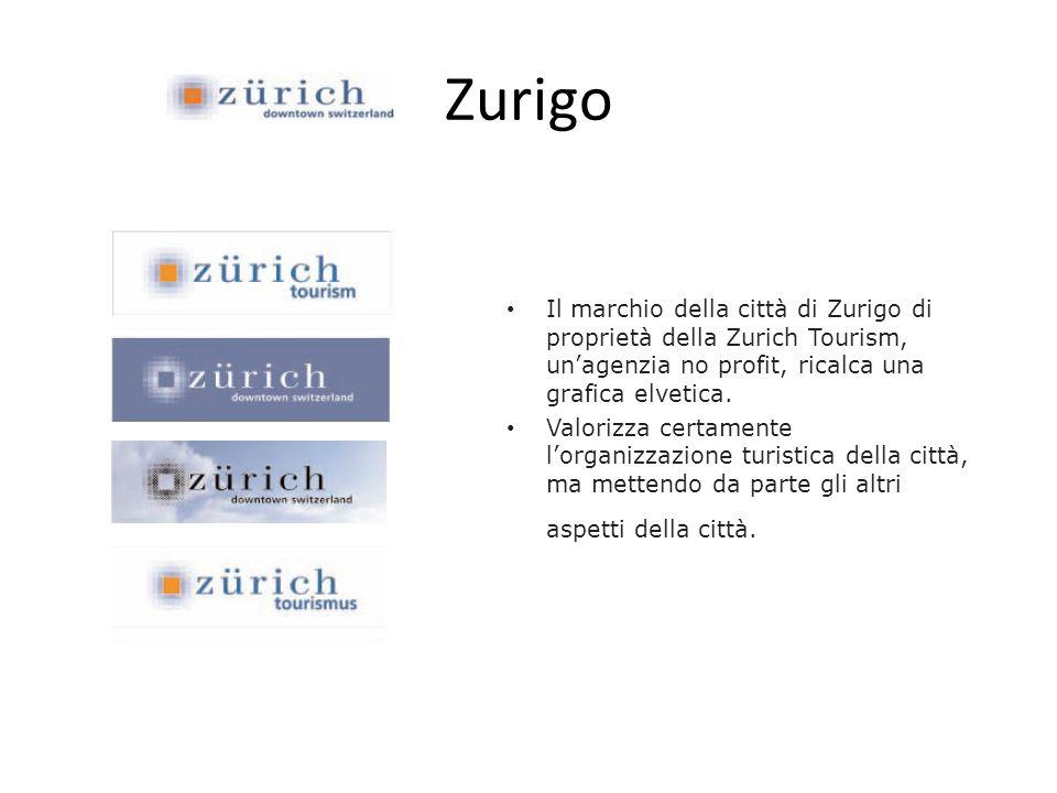 Zurigo Il marchio della città di Zurigo di proprietà della Zurich Tourism, unagenzia no profit, ricalca una grafica elvetica. Valorizza certamente lor