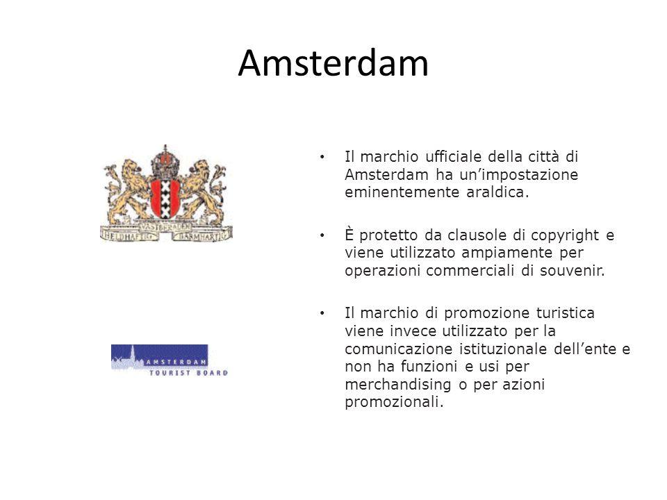 Amsterdam Il marchio ufficiale della città di Amsterdam ha unimpostazione eminentemente araldica. È protetto da clausole di copyright e viene utilizza