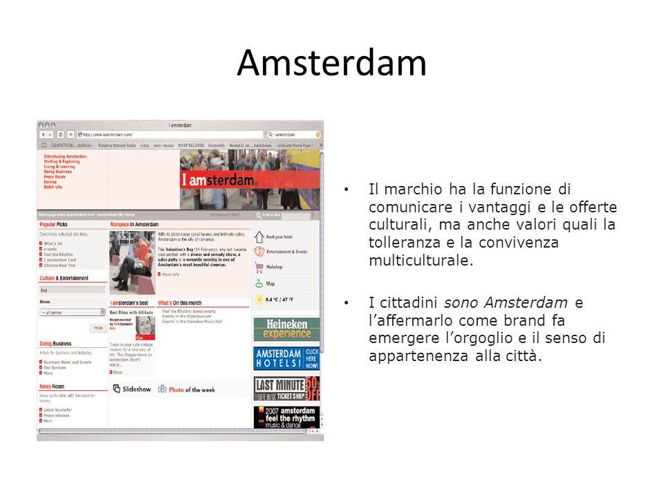 Amsterdam Il marchio ha la funzione di comunicare i vantaggi e le offerte culturali, ma anche valori quali la tolleranza e la convivenza multicultural