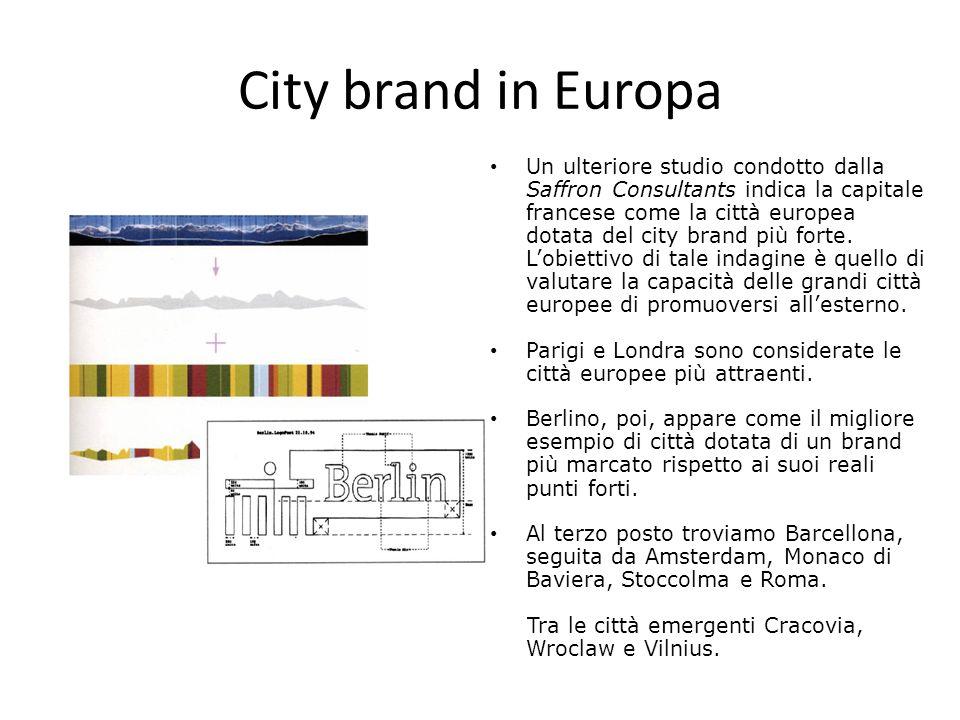City brand in Europa Un ulteriore studio condotto dalla Saffron Consultants indica la capitale francese come la città europea dotata del city brand pi