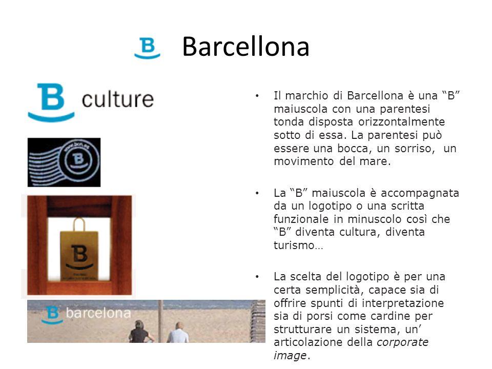 Barcellona Il marchio di Barcellona è una B maiuscola con una parentesi tonda disposta orizzontalmente sotto di essa. La parentesi può essere una bocc