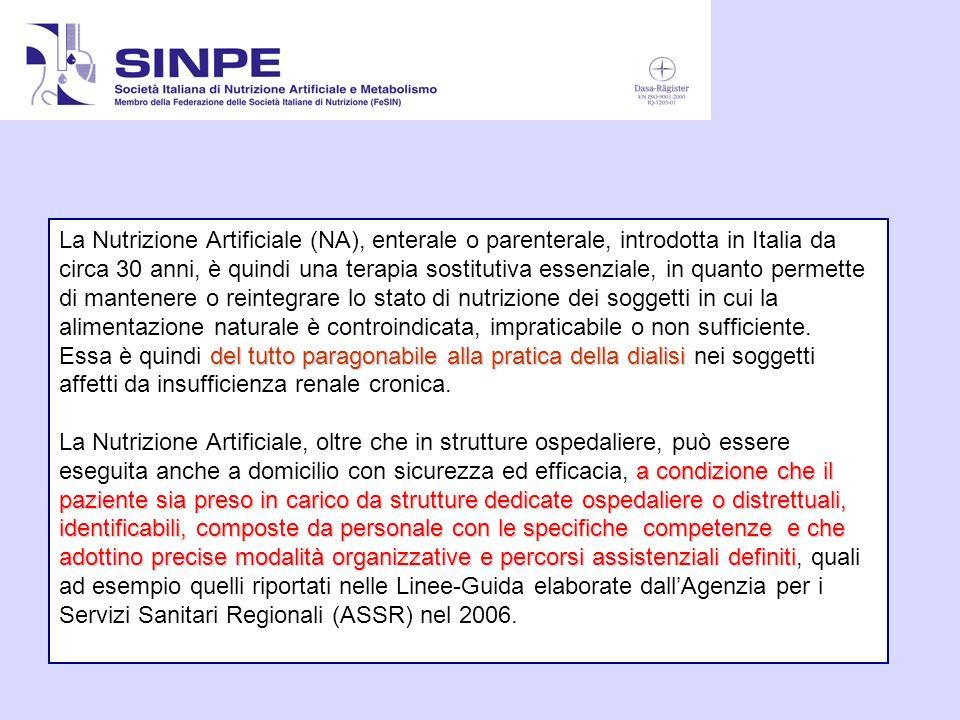 La Nutrizione Artificiale (NA), enterale o parenterale, introdotta in Italia da circa 30 anni, è quindi una terapia sostitutiva essenziale, in quanto