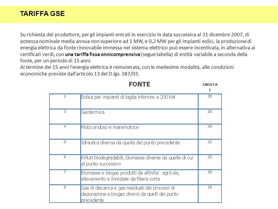 Su richiesta del produttore, per gli impianti entrati in esercizio in data successiva al 31 dicembre 2007, di potenza nominale media annua non superio