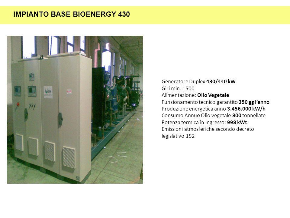 Generatore Duplex 430/440 kW Giri min. 1500 Alimentazione: Olio Vegetale Funzionamento tecnico garantito 350 gg lanno Produzione energetica anno 3.456