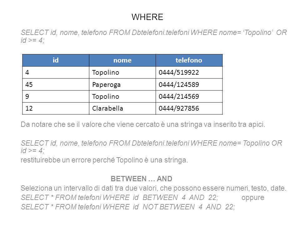 WHERE SELECT id, nome, telefono FROM Dbtelefoni.telefoni WHERE nome= Topolino OR id >= 4; Da notare che se il valore che viene cercato è una stringa v