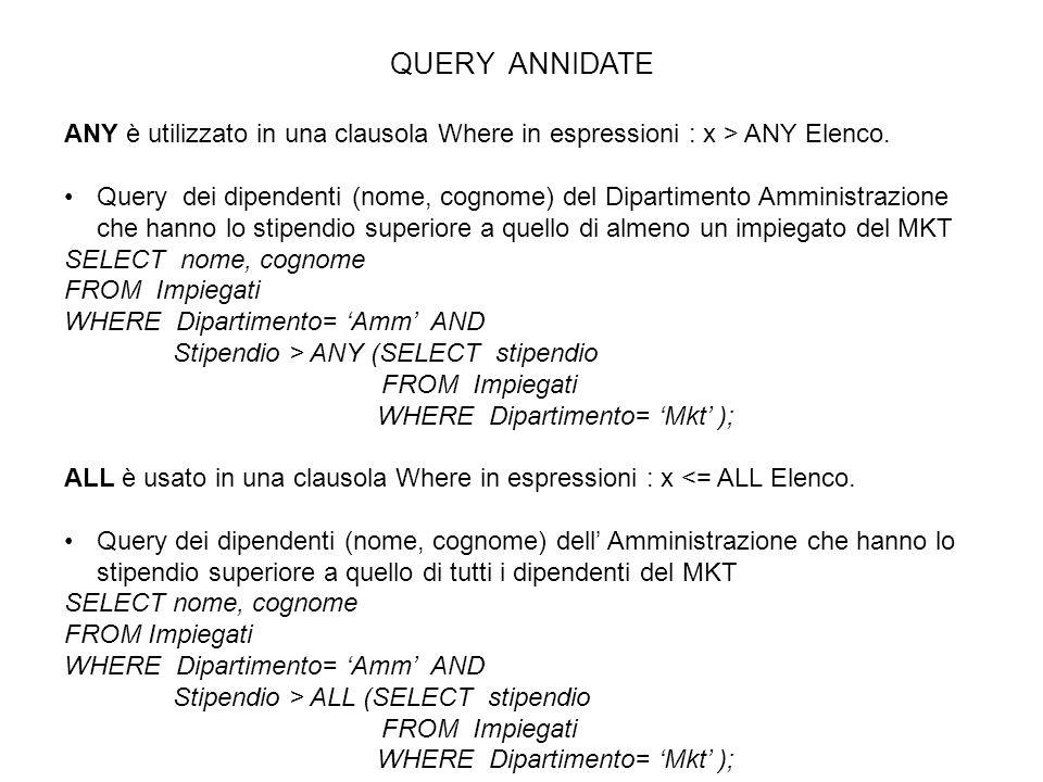 QUERY ANNIDATE ANY è utilizzato in una clausola Where in espressioni : x > ANY Elenco. Query dei dipendenti (nome, cognome) del Dipartimento Amministr