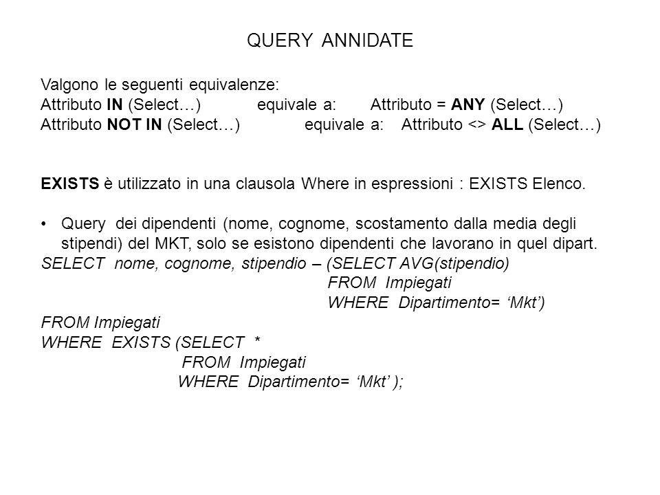 QUERY ANNIDATE Valgono le seguenti equivalenze: Attributo IN (Select…) equivale a:Attributo = ANY (Select…) Attributo NOT IN (Select…)equivale a: Attr