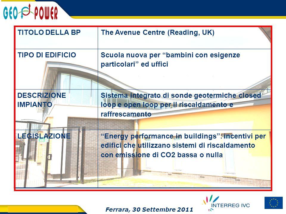 > GEO.POWER Inception meeting 16 TITOLO DELLA BPThe Avenue Centre (Reading, UK) TIPO DI EDIFICIO Scuola nuova per bambini con esigenze particolari ed