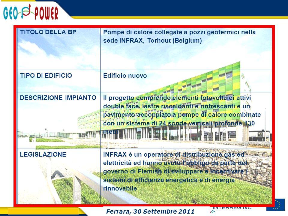 > GEO.POWER Inception meeting 18 TITOLO DELLA BP Pompe di calore collegate a pozzi geotermici nella sede INFRAX, Torhout (Belgium) TIPO DI EDIFICIOEdi