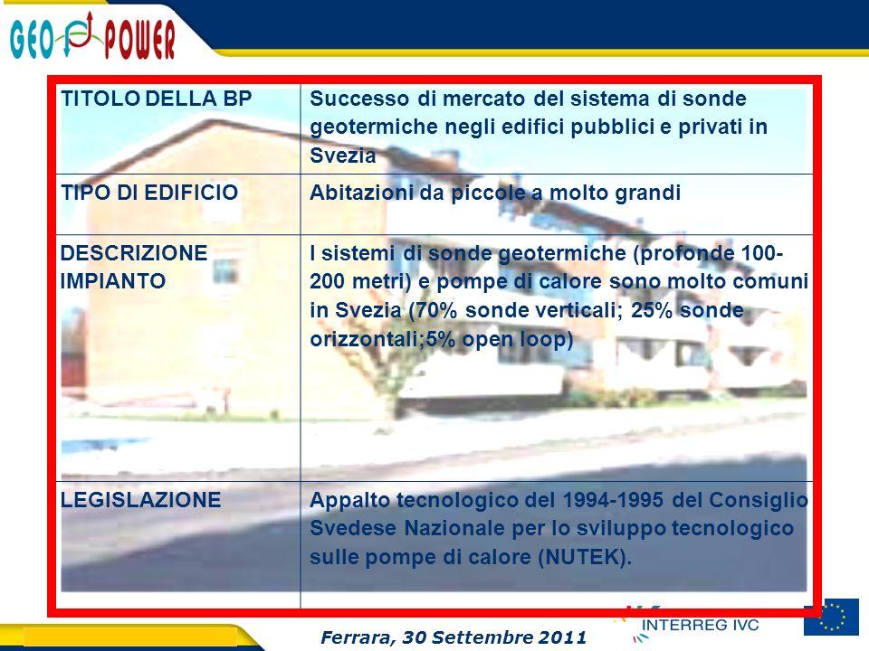 > GEO.POWER Inception meeting 19 TITOLO DELLA BP Successo di mercato del sistema di sonde geotermiche negli edifici pubblici e privati in Svezia TIPO