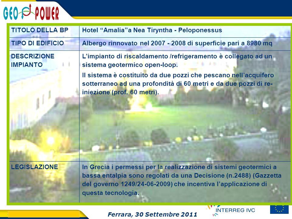 > GEO.POWER Inception meeting 23 TITOLO DELLA BPHotel Amaliaa Nea Tiryntha - Peloponessus TIPO DI EDIFICIOAlbergo rinnovato nel 2007 - 2008 di superfi