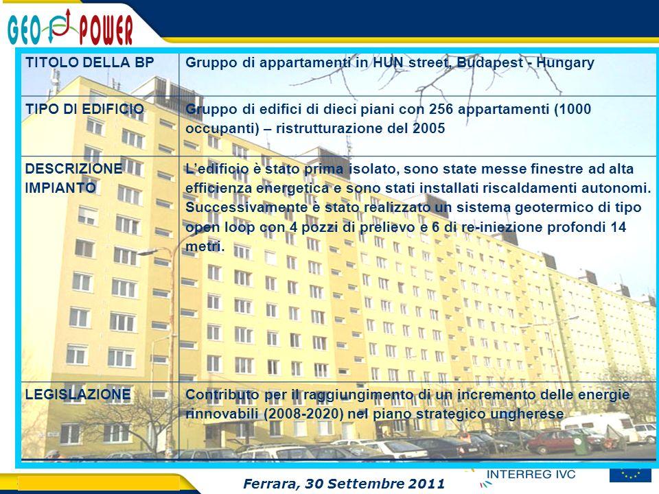 > GEO.POWER Inception meeting 24 TITOLO DELLA BPGruppo di appartamenti in HUN street, Budapest - Hungary TIPO DI EDIFICIO Gruppo di edifici di dieci p