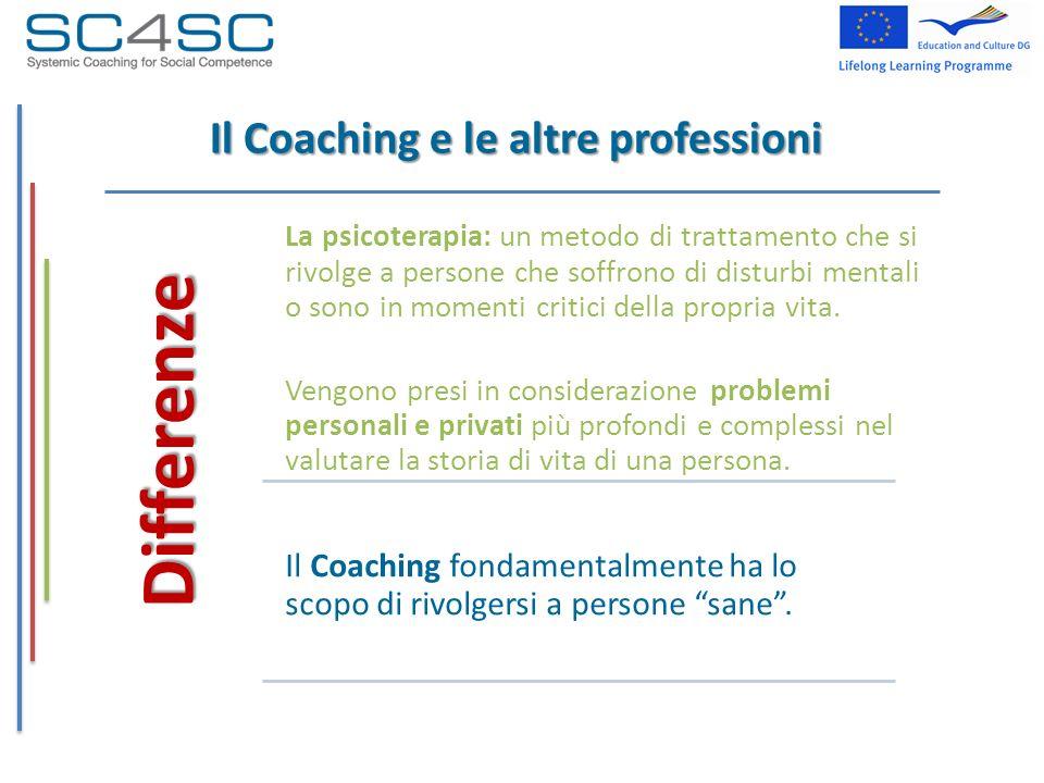 Il Coaching e le altre professioni Differenze La psicoterapia: un metodo di trattamento che si rivolge a persone che soffrono di disturbi mentali o so