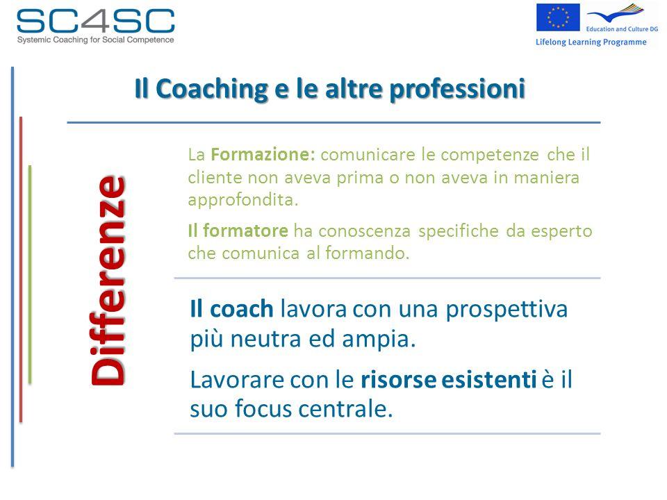 Il Coaching e le altre professioni Differenze La Formazione: comunicare le competenze che il cliente non aveva prima o non aveva in maniera approfondi