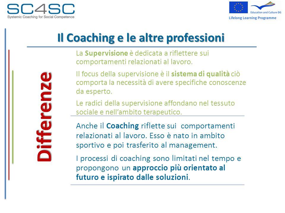 Il Coaching e le altre professioni Differenze La Supervisione è dedicata a riflettere sui comportamenti relazionati al lavoro. Il focus della supervis