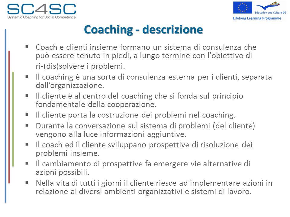 Coaching - descrizione Coach e clienti insieme formano un sistema di consulenza che può essere tenuto in piedi, a lungo termine con l'obiettivo di ri-
