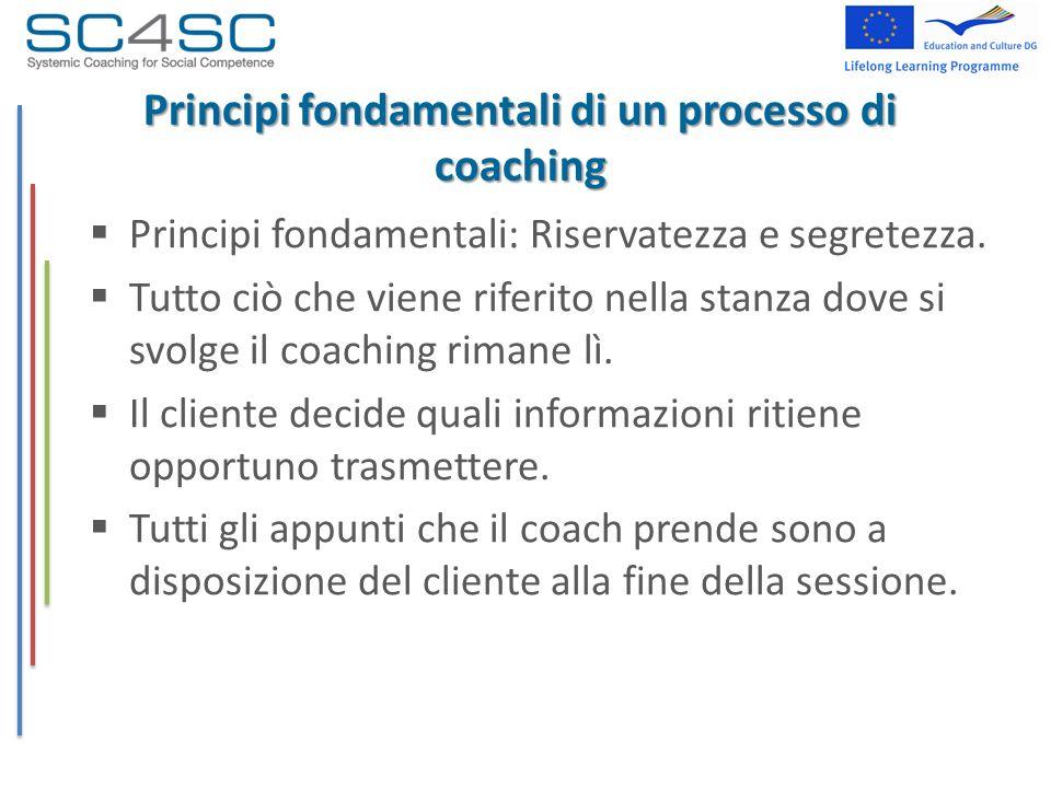 Principi fondamentali di un processo di coaching Principi fondamentali: Riservatezza e segretezza. Tutto ciò che viene riferito nella stanza dove si s