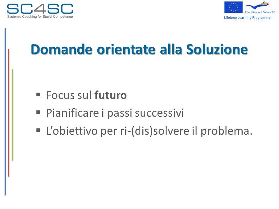 Domande orientate alla Soluzione Focus sul futuro Pianificare i passi successivi Lobiettivo per ri-(dis)solvere il problema.