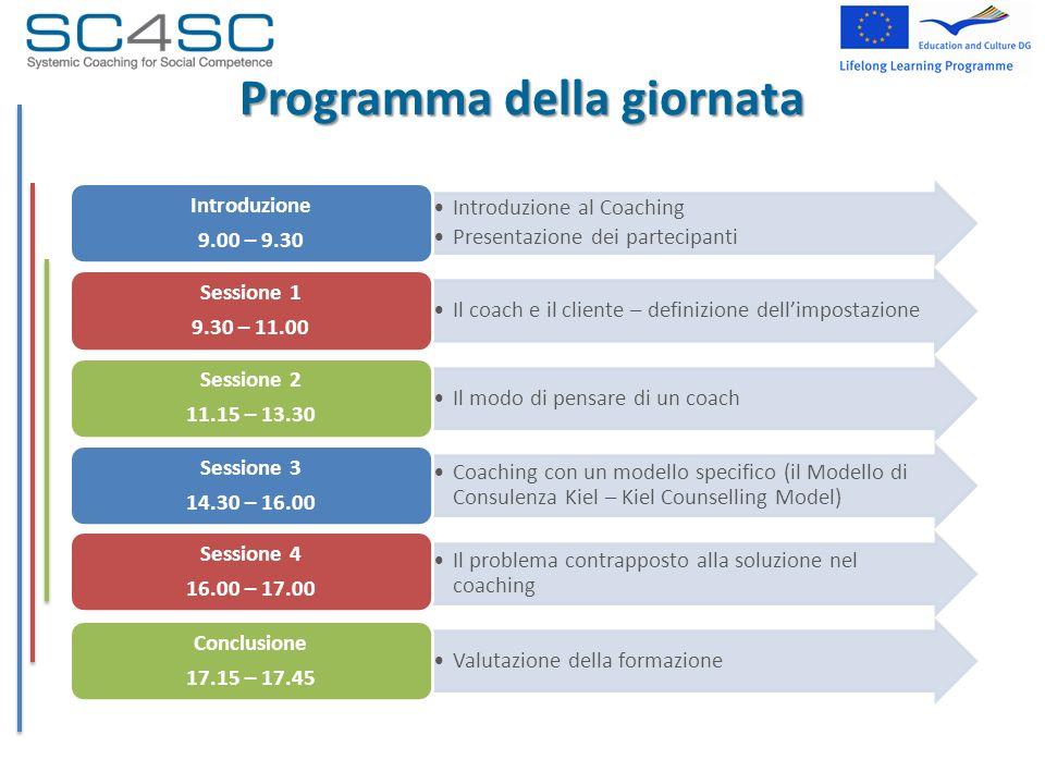 Programma della giornata Introduzione al Coaching Presentazione dei partecipanti Introduzione 9.00 – 9.30 Il coach e il cliente – definizione dellimpo
