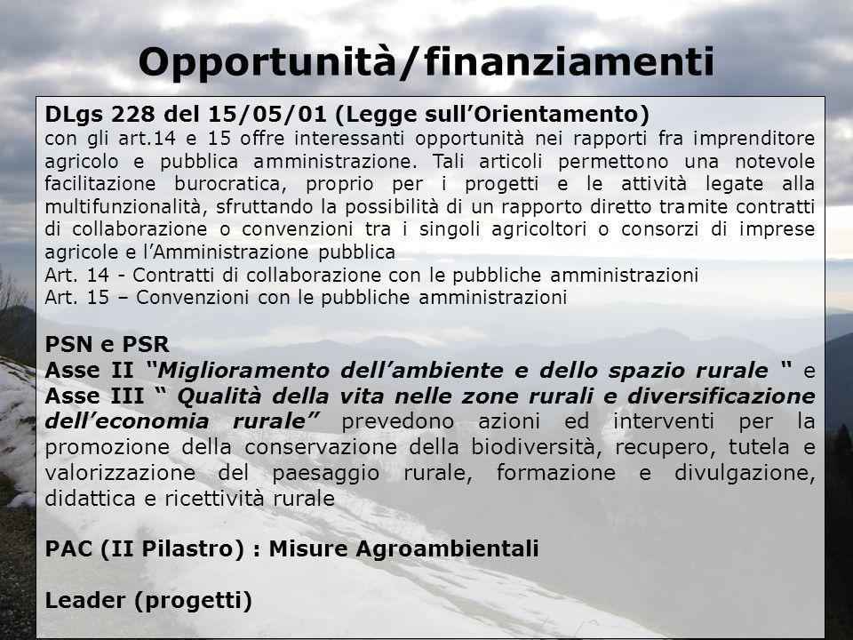Opportunità/finanziamenti DLgs 228 del 15/05/01 (Legge sullOrientamento) con gli art.14 e 15 offre interessanti opportunità nei rapporti fra imprendit