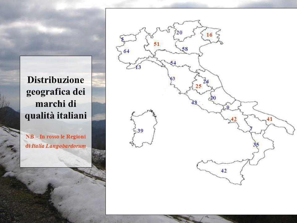 Distribuzione geografica dei marchi di qualità italiani NB – In rosso le Regioni di Italia Langobardorum 5 64 13 51 20 58 16 54 63 25 24 43 20 9 42 7