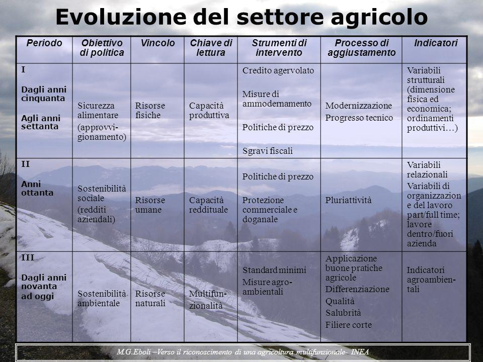Evoluzione del settore agricolo PeriodoObiettivo di politica VincoloChiave di lettura Strumenti di intervento Processo di aggiustamento Indicatori I D