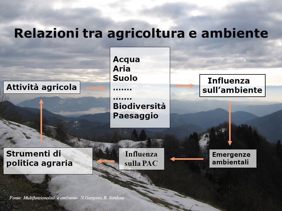 Relazioni tra agricoltura e ambiente Acqua Aria Suolo ……. Biodiversità Paesaggio Influenza sulla PAC Strumenti di politica agraria Attività agricola I