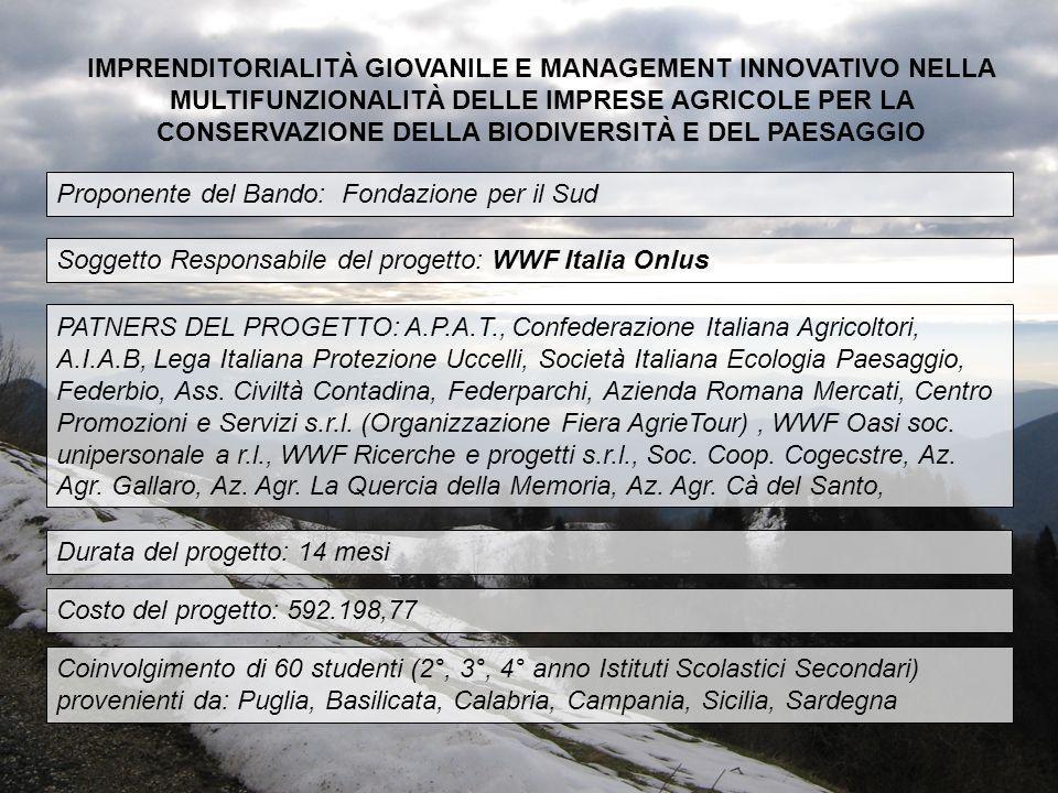 PATNERS DEL PROGETTO: A.P.A.T., Confederazione Italiana Agricoltori, A.I.A.B, Lega Italiana Protezione Uccelli, Società Italiana Ecologia Paesaggio, F