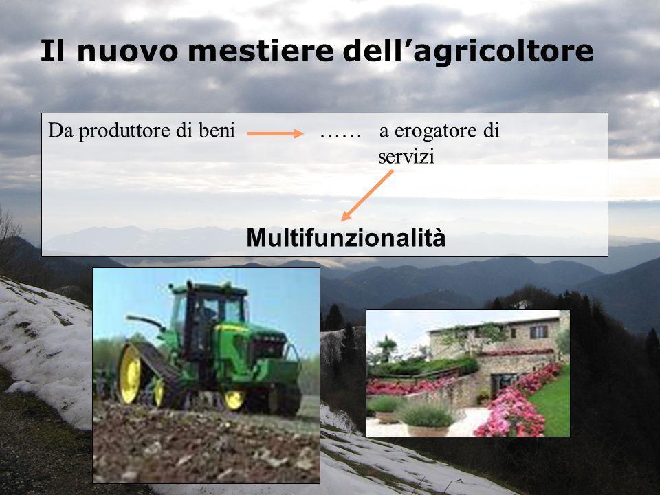 Il nuovo mestiere dellagricoltore Da produttore di beni …… a erogatore di servizi Multifunzionalità