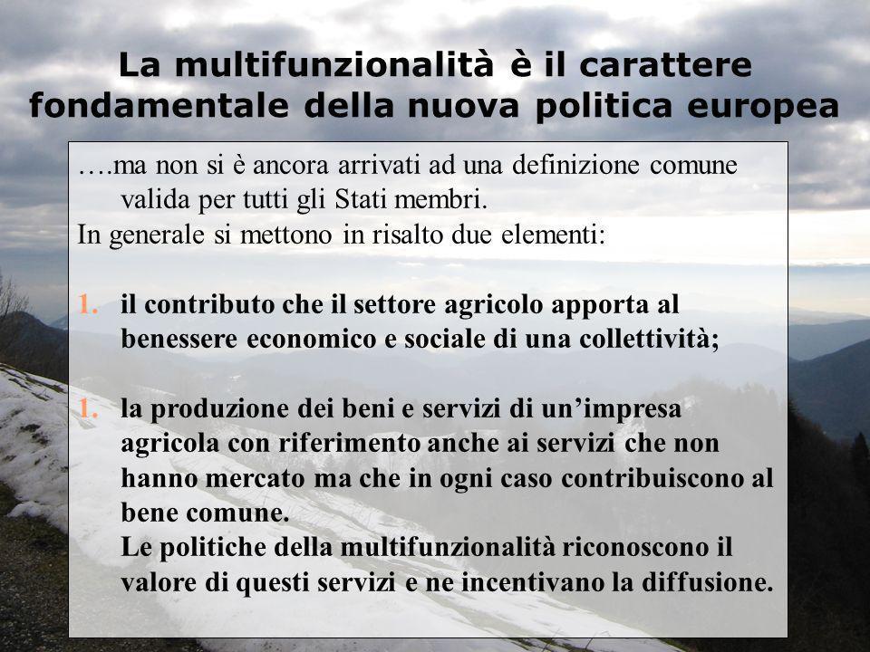 La multifunzionalità è il carattere fondamentale della nuova politica europea ….ma non si è ancora arrivati ad una definizione comune valida per tutti