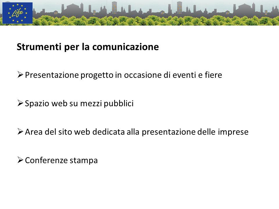 Presentazione progetto in occasione di eventi e fiere Spazio web su mezzi pubblici Area del sito web dedicata alla presentazione delle imprese Confere