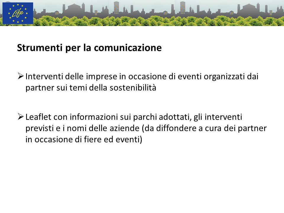 Interventi delle imprese in occasione di eventi organizzati dai partner sui temi della sostenibilità Leaflet con informazioni sui parchi adottati, gli