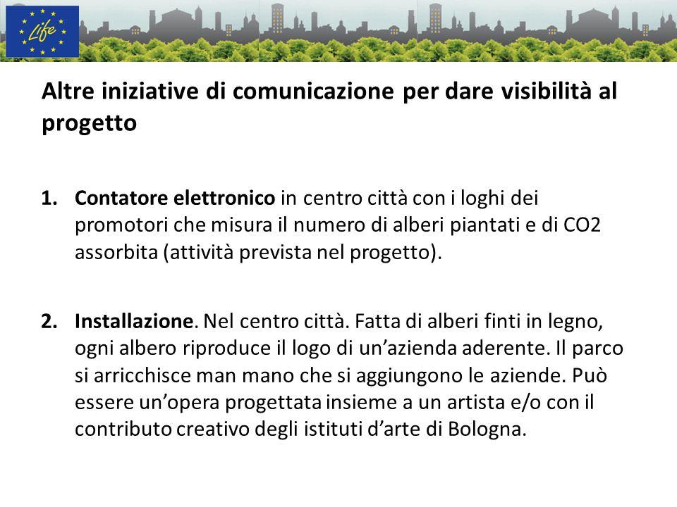 Altre iniziative di comunicazione per dare visibilità al progetto 1.Contatore elettronico in centro città con i loghi dei promotori che misura il nume