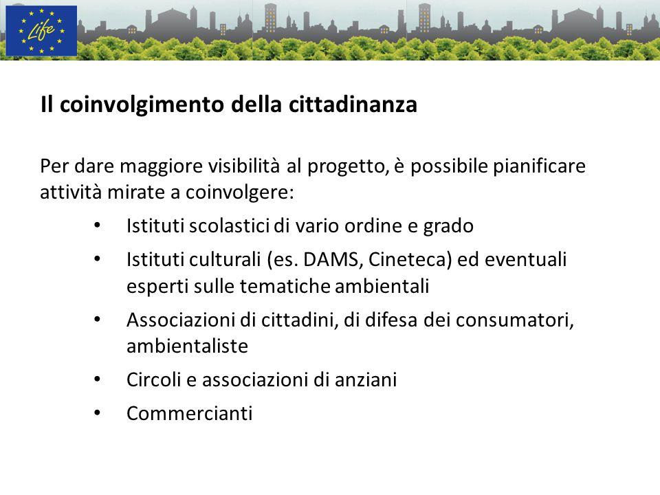 Il coinvolgimento della cittadinanza Per dare maggiore visibilità al progetto, è possibile pianificare attività mirate a coinvolgere: Istituti scolast