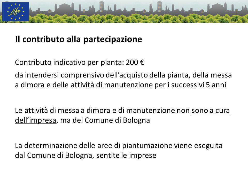 Il contributo alla partecipazione Contributo indicativo per pianta: 200 da intendersi comprensivo dellacquisto della pianta, della messa a dimora e de