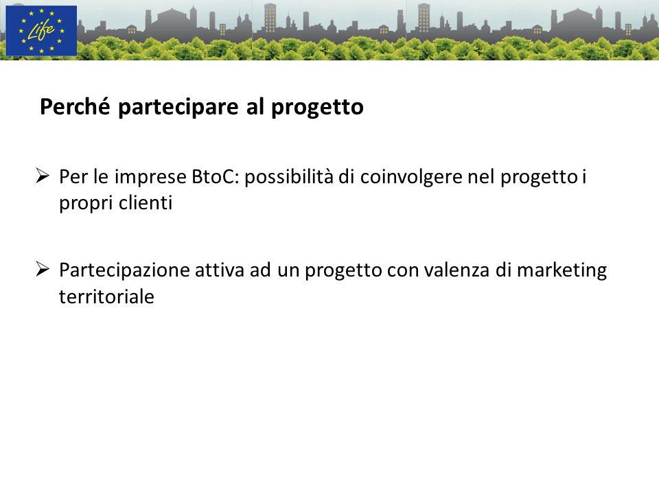 Perché partecipare al progetto Per le imprese BtoC: possibilità di coinvolgere nel progetto i propri clienti Partecipazione attiva ad un progetto con