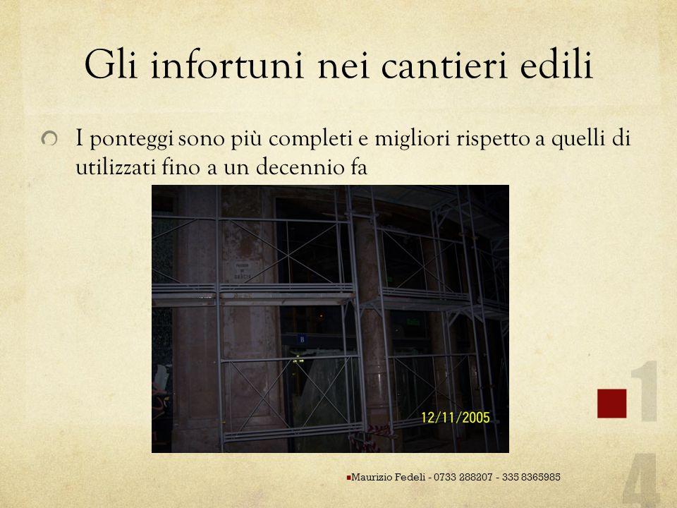 Gli infortuni nei cantieri edili I ponteggi sono più completi e migliori rispetto a quelli di utilizzati fino a un decennio fa Maurizio Fedeli - 0733