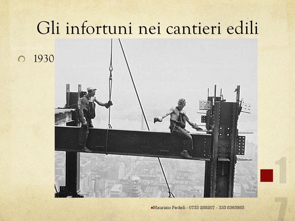 Gli infortuni nei cantieri edili 1930 Maurizio Fedeli - 0733 288207 - 335 8365985