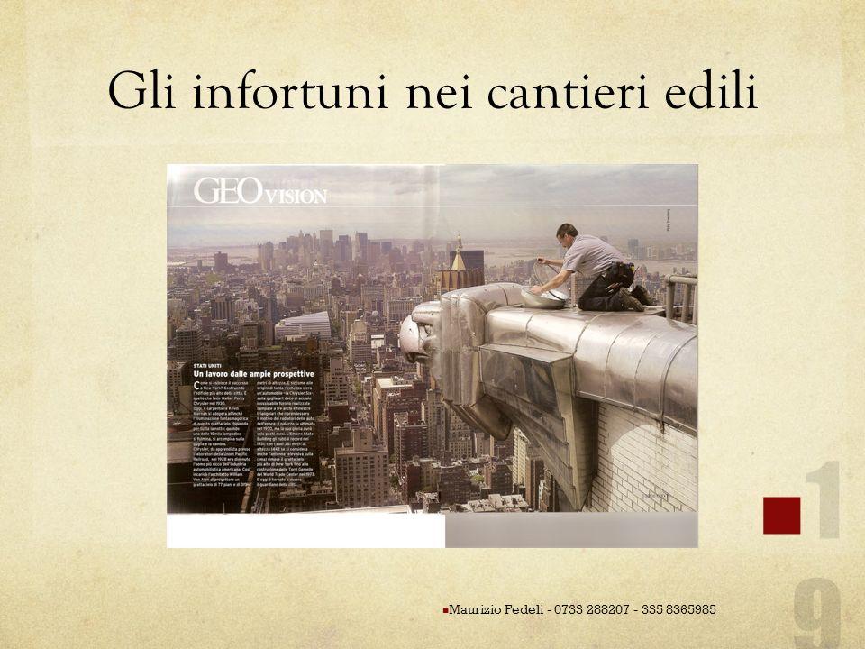 Gli infortuni nei cantieri edili Maurizio Fedeli - 0733 288207 - 335 8365985