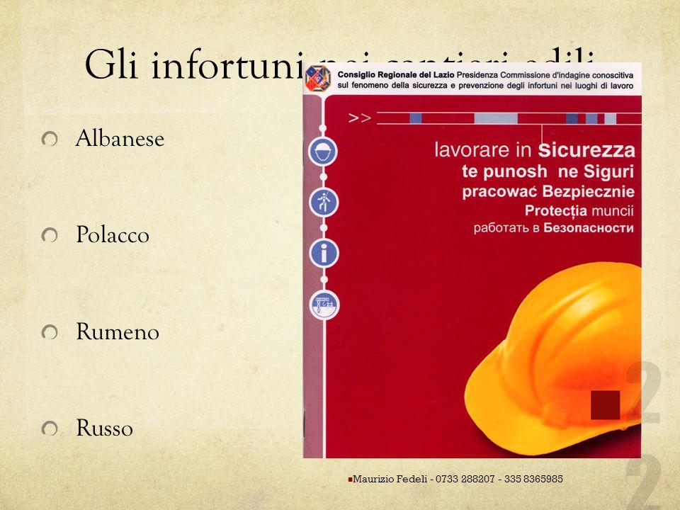 Gli infortuni nei cantieri edili Albanese Polacco Rumeno Russo Maurizio Fedeli - 0733 288207 - 335 8365985