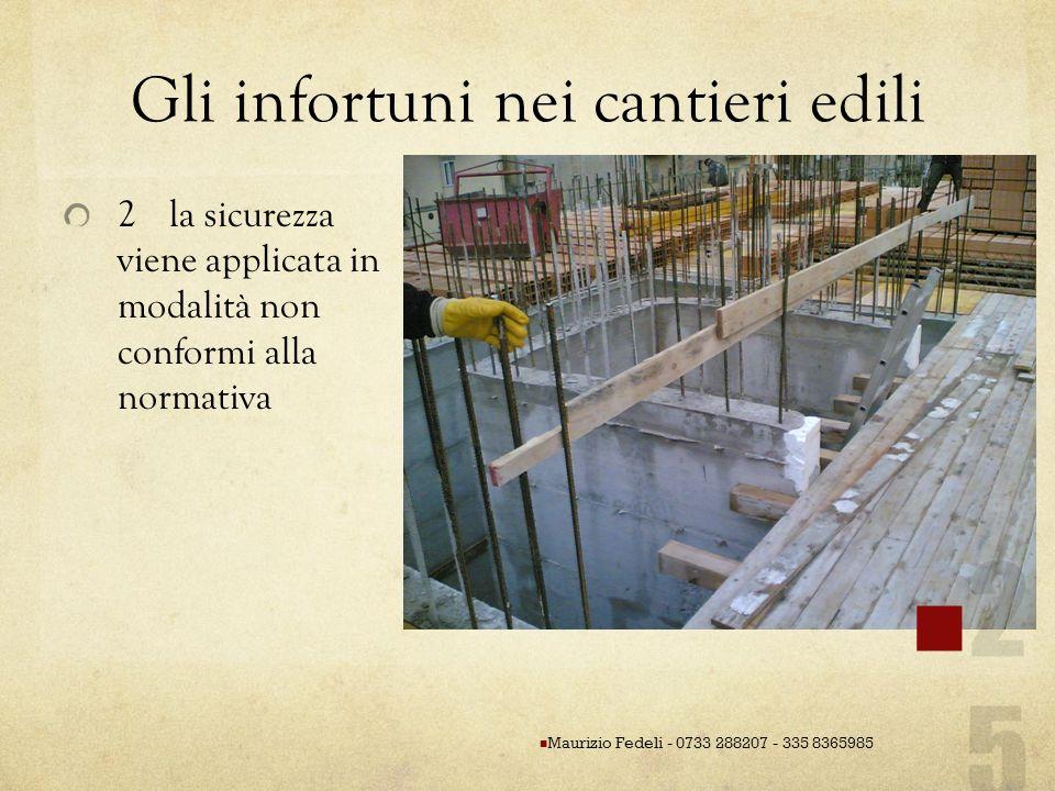 Gli infortuni nei cantieri edili 2la sicurezza viene applicata in modalità non conformi alla normativa Maurizio Fedeli - 0733 288207 - 335 8365985