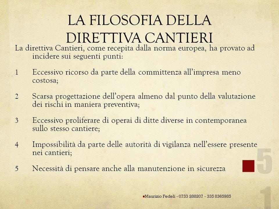 LA FILOSOFIA DELLA DIRETTIVA CANTIERI La direttiva Cantieri, come recepita dalla norma europea, ha provato ad incidere sui seguenti punti: 1 Eccessivo
