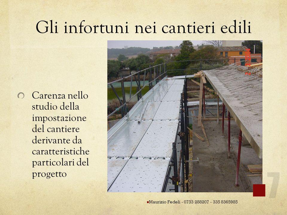 Gli infortuni nei cantieri edili Carenza nello studio della impostazione del cantiere derivante da caratteristiche particolari del progetto Maurizio F