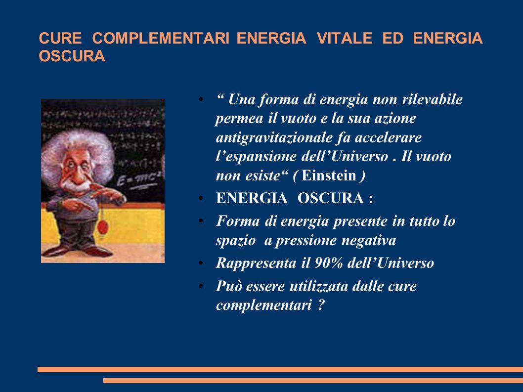CURE COMPLEMENTARI ENERGIA VITALE ED ENERGIA OSCURA Una forma di energia non rilevabile permea il vuoto e la sua azione antigravitazionale fa accelera