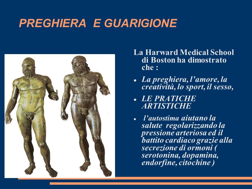 PREGHIERA E GUARIGIONE La Harward Medical School di Boston ha dimostrato che : La preghiera, lamore, la creatività, lo sport, il sesso, LE PRATICHE AR