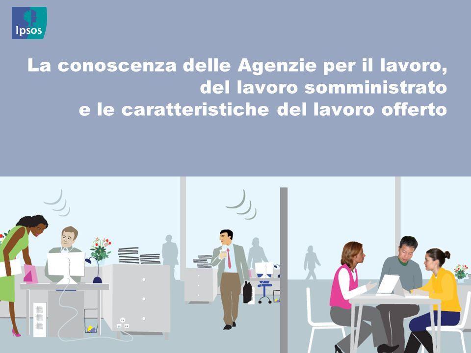 17 © 2011 Ipsos La conoscenza delle Agenzie per il lavoro, del lavoro somministrato e le caratteristiche del lavoro offerto