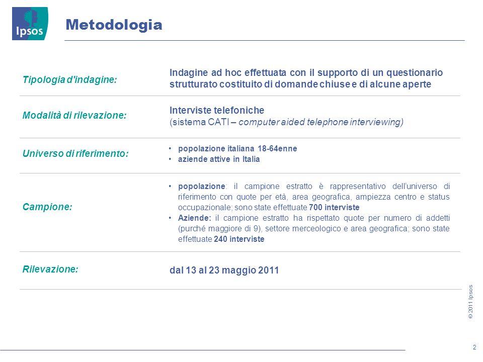 2 © 2011 Ipsos Metodologia Tipologia d'indagine: Modalità di rilevazione: Universo di riferimento: Campione: Rilevazione: dal 13 al 23 maggio 2011 Ind