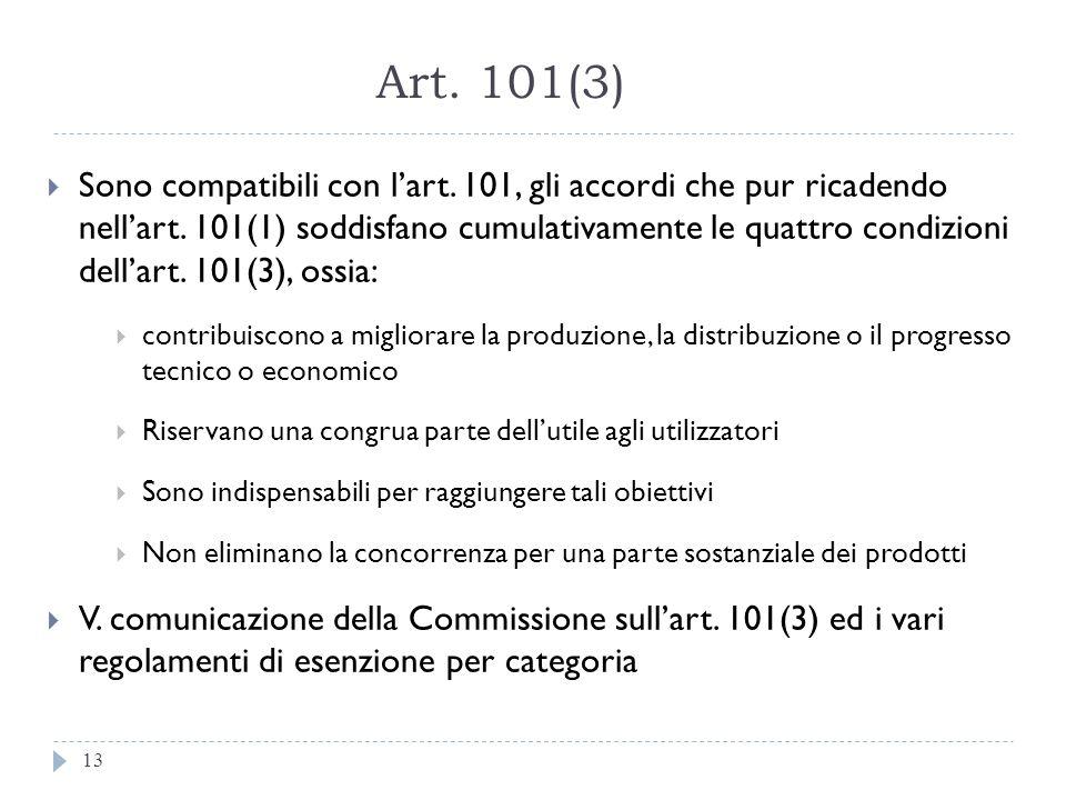 Art. 101(3) 13 Sono compatibili con lart. 101, gli accordi che pur ricadendo nellart. 101(1) soddisfano cumulativamente le quattro condizioni dellart.