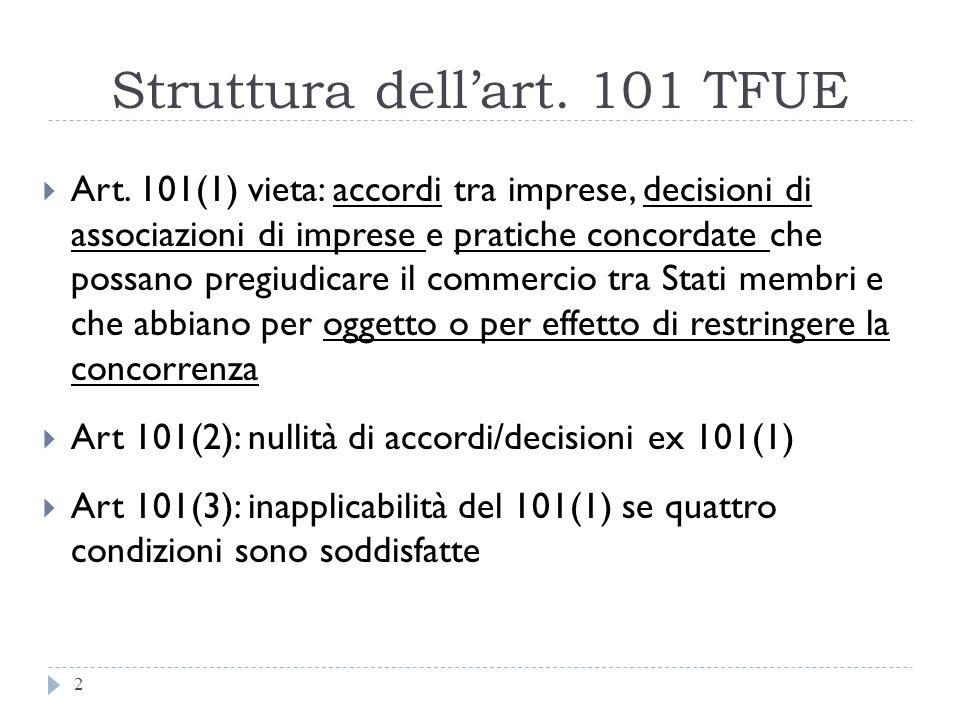 Struttura dellart. 101 TFUE 2 Art. 101(1) vieta: accordi tra imprese, decisioni di associazioni di imprese e pratiche concordate che possano pregiudic