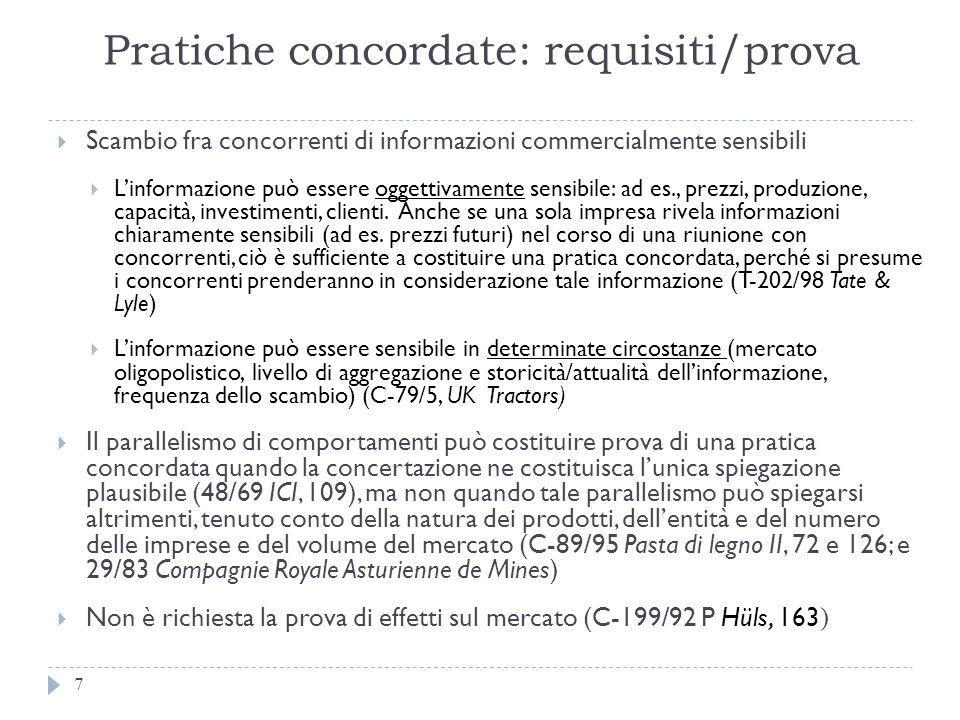 Pratiche concordate: requisiti/prova 7 Scambio fra concorrenti di informazioni commercialmente sensibili Linformazione può essere oggettivamente sensi